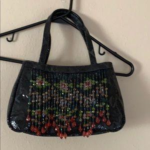 Park Ave Int'l New York beaded snakeskin purse